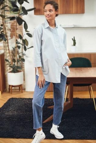 Chambray Stripe Maternity Sleeve Detail Oversized Shirt