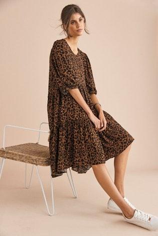 Animal Print Tiered Midi Dress