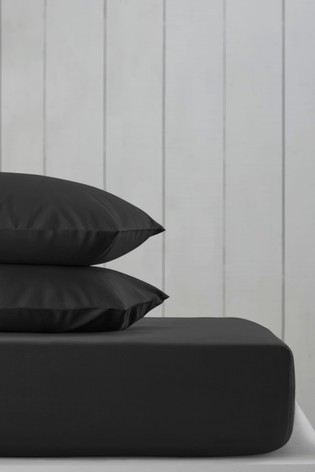 Black Cotton Rich Fitted Sheet