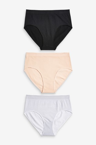 Black/Pink/Stripe Short Seamfree Knickers Three Pack