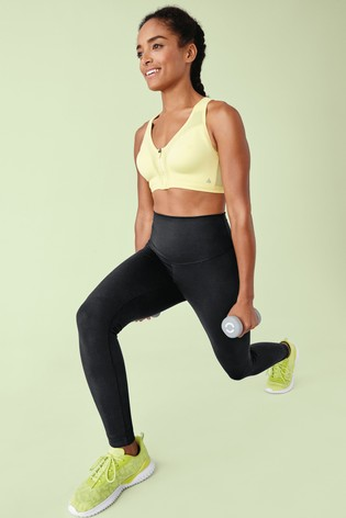 Lime High Impact Zip Front Sports Bra