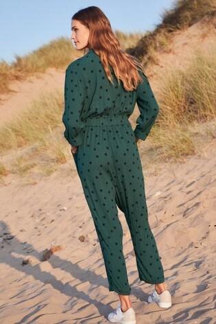 Green Spot Long Sleeve Jumpsuit