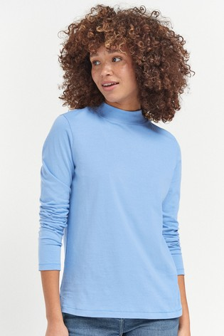 Blue High Neck Long Sleeve Top