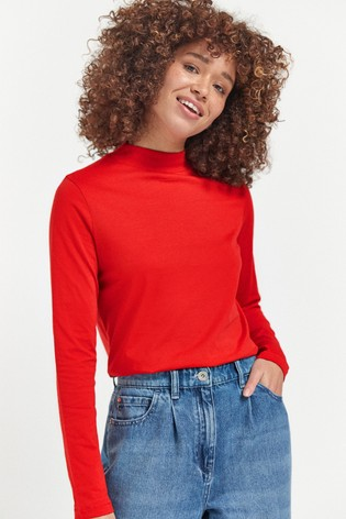 Red High Neck Long Sleeve Top