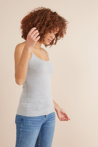 Grey Marl Thin Strap Vest