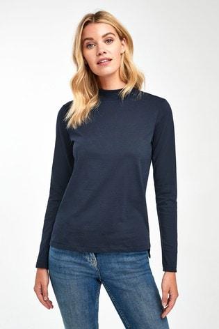 Navy High Neck Long Sleeve Top