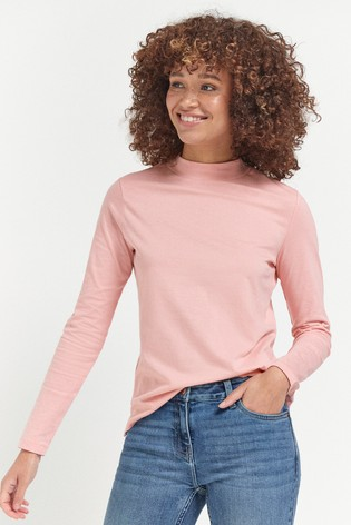 Baby Pink High Neck Long Sleeve Top