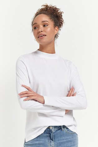 White High Neck Long Sleeve Top