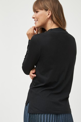 Black High Neck Long Sleeve Top