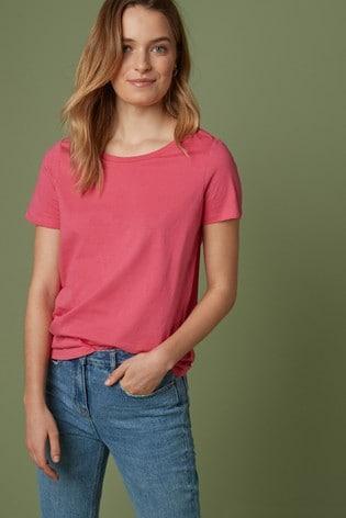 Fuchsia Pink Crew Neck T-Shirt