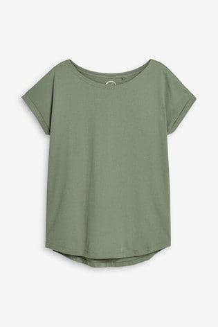 Khaki Green Cap Sleeve T-Shirt