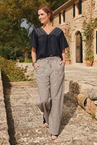 Check Linen Blend Wide Leg Trousers