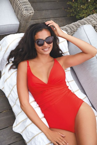 Red High Apex Shape Enhancing Swimsuit