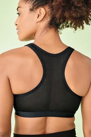 Black High Impact Zip Front Sports Bra