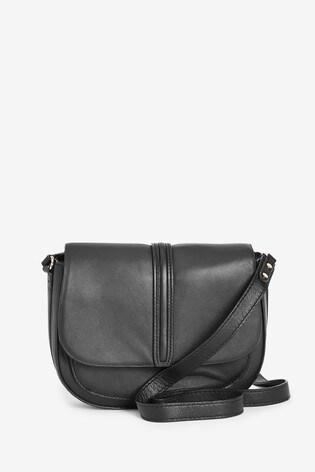 Black Emma Willis Across Body Leather Saddle Bag