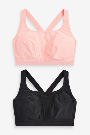 Coral/Black Sports High Impact Crop Tops 2 Pack