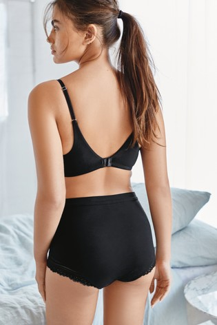 Black Forever Comfort® Daisy Supersoft Wire Free Lightly Padded Lounge Bra