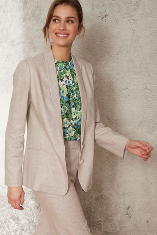 Stone Linen Blend Single Breasted Blazer