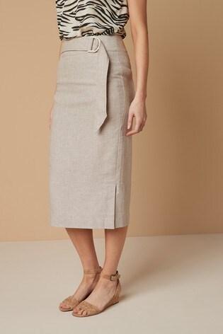 Stone Linen Blend Pencil Skirt