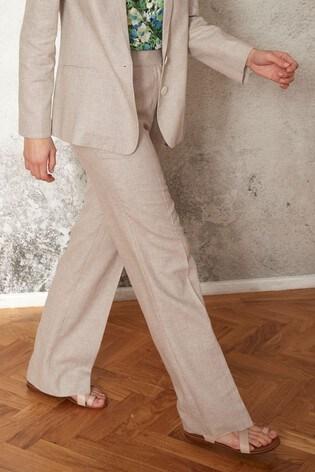 Stone Linen Blend Boot Cut Trousers