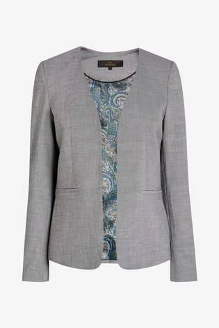 Grey Sharkskin Texture Collarless Tailored Jacket