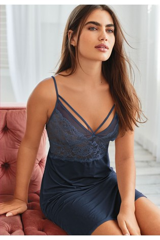 Navy Lace And Satin Slip
