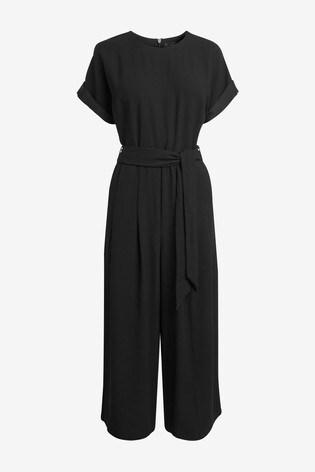 Black Belted Cropped Jumpsuit