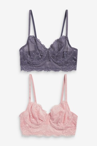 Navy/Pink Georgie Non Padded Lace Full Cup Longline Bras Two Pack