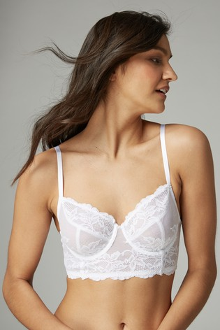 Black/White Georgie Non Padded Lace Full Cup Longline Bras Two Pack