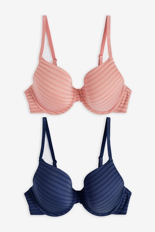 Pink/Navy Holly Light Pad Full Cup Stripe Bras Two Pack