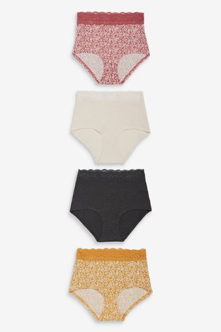 Print Full Brief Lace Trim Cotton Blend Knickers 4 Pack