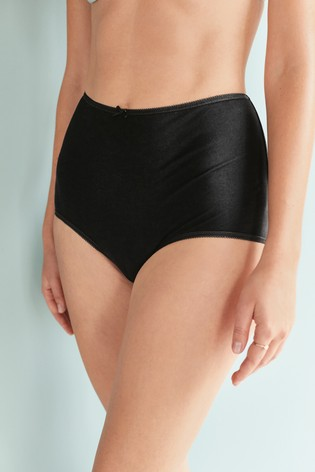 Black Full Brief Cotton Knickers 5 Pack