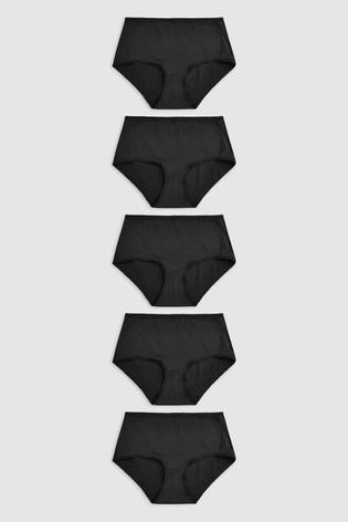 Black Midi Microfibre Knickers 5 Pack
