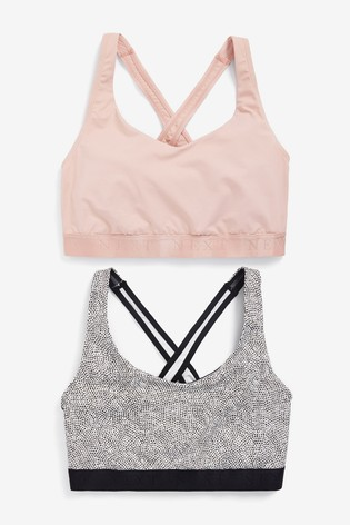 Pink/Mono Print Low Impact Sports Crop Tops Two Pack
