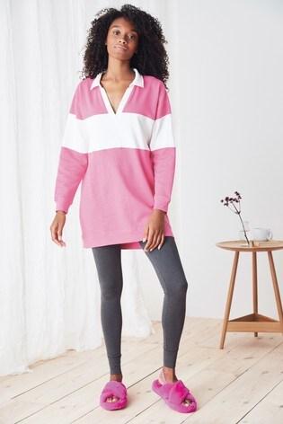 Pink Cotton Blend Rugby Pyjama Set