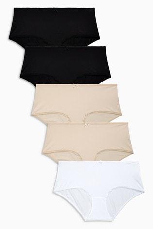 Black/White/Nude Midi Microfibre Knickers 5 Pack