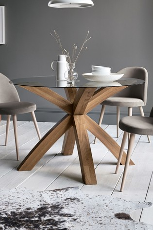 Buy Oak Glass Round Dining Table From Next Ireland