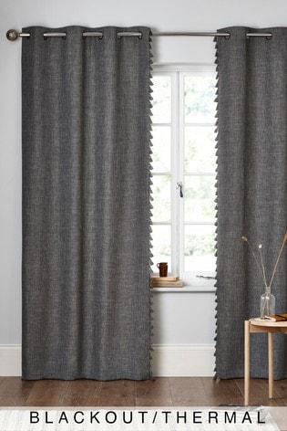 Textured Tassel Eyelet Blackout/Thermal Curtains