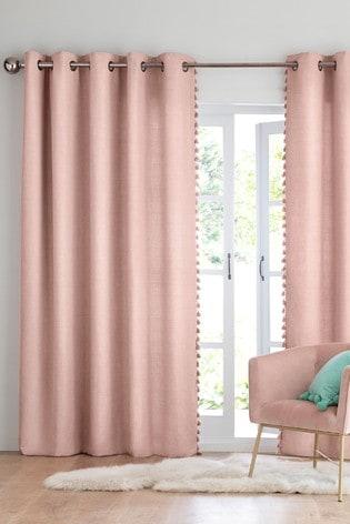 Blush Textured Tassel Eyelet Lined Curtains