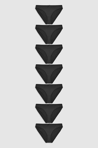 Black High Leg Microfibre Knickers Seven Pack