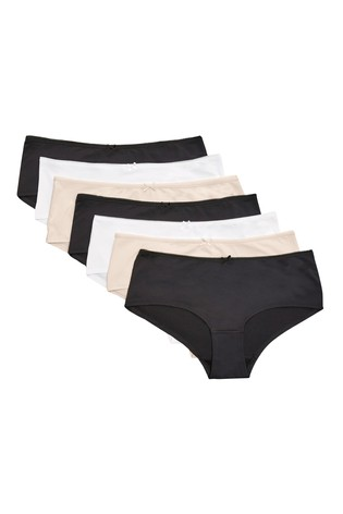 Black/White/Nude Short Microfibre Knickers Seven Pack