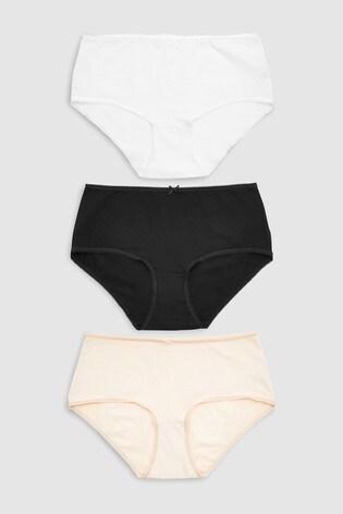Black/White/Nude Midi Cotton Rich Knickers Seven Pack