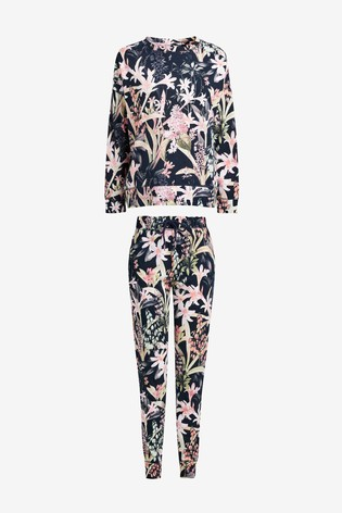 Navy Floral Cotton Pyjamas