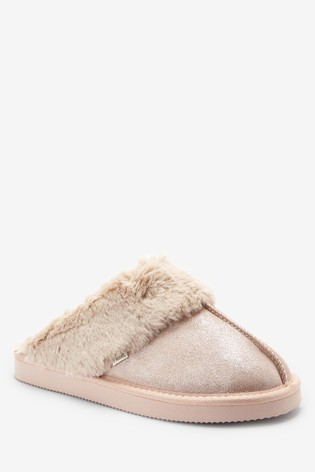Gold Suede Mule Slippers