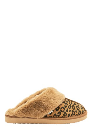 Animal Suede Mule Slippers