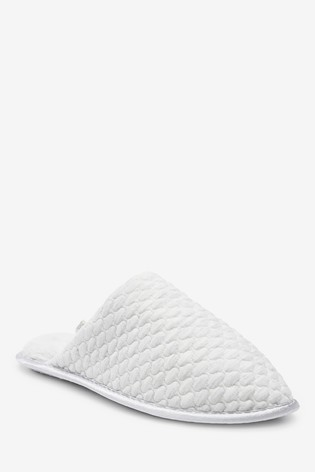 Grey Quilted Mule Slippers