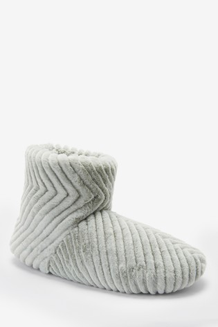 Green Quilted Faux Fur Slipper Boots