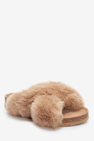 Neutral Crossover Cork Faux Fur Slider Slippers