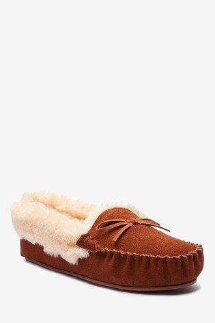 Chestnut Brown Suede Moccasin Slippers