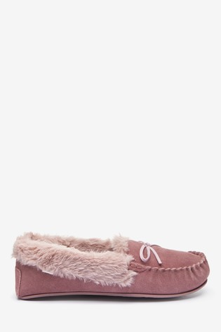 Mink Pink Suede Moccasin Slippers